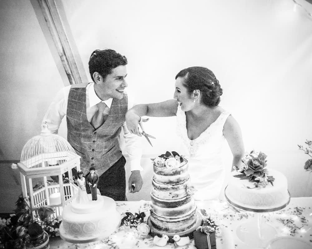 Cutting of cake, Sheffield wedding photographers