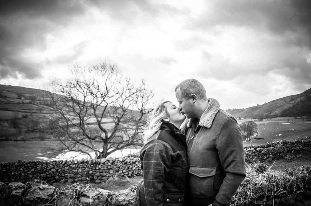 Abby & Tom kissing, Kentmere, Lake District weddings