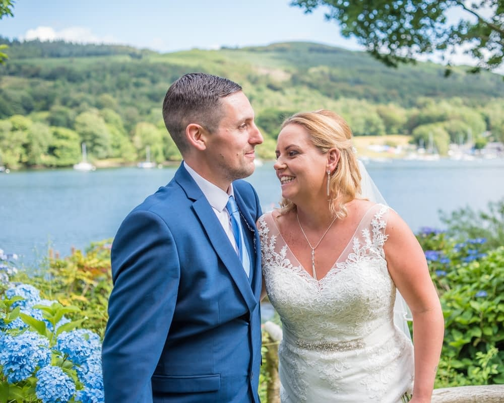 Laughing with views of the Lake, Windermere weddings
