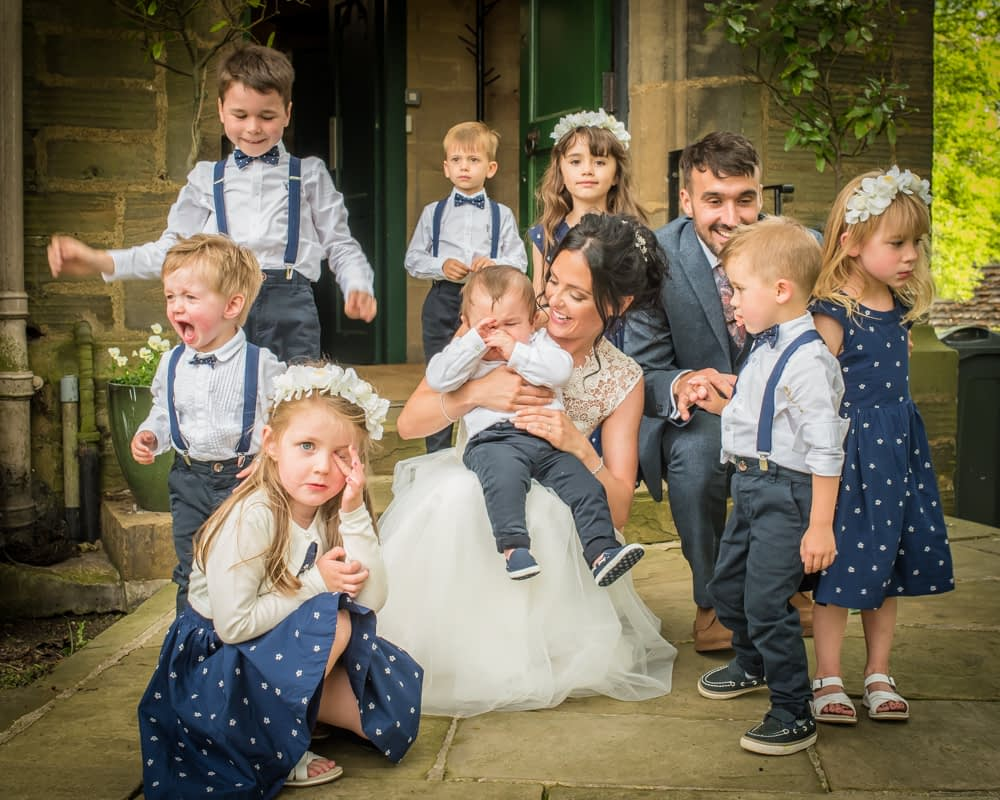 Group photo with all the pageboys and flowergirls, Barnsley weddings