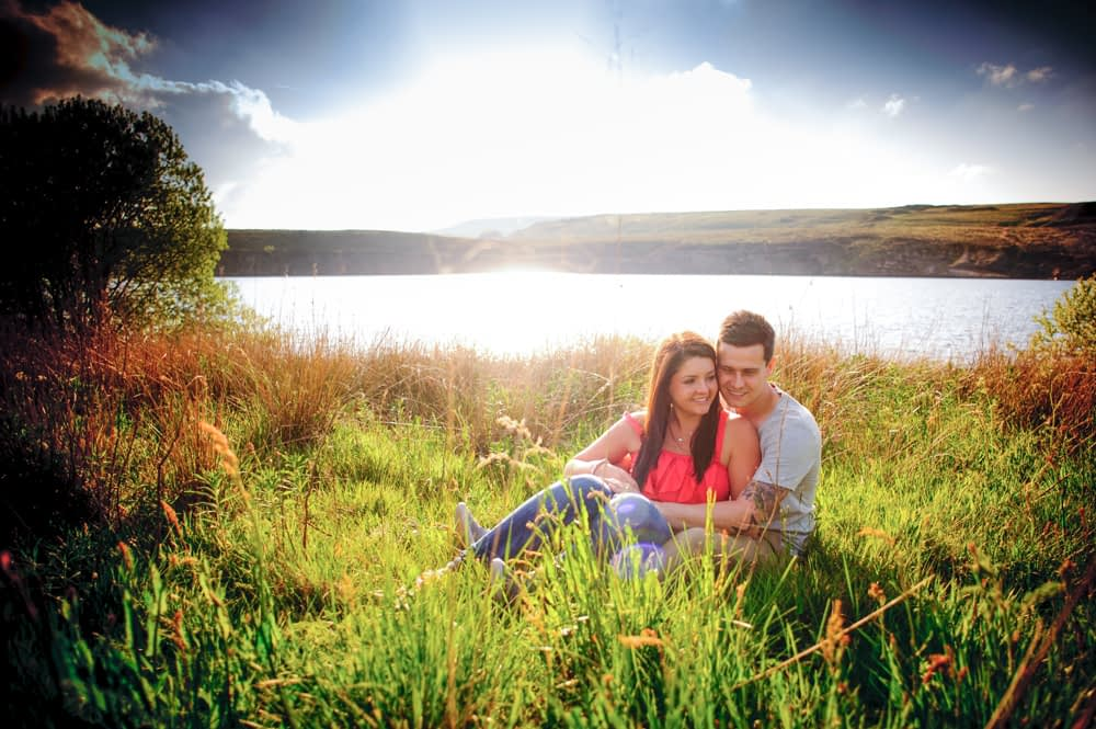 Sunset portraits Sheffield reservoir, Sheffield wedding photographers
