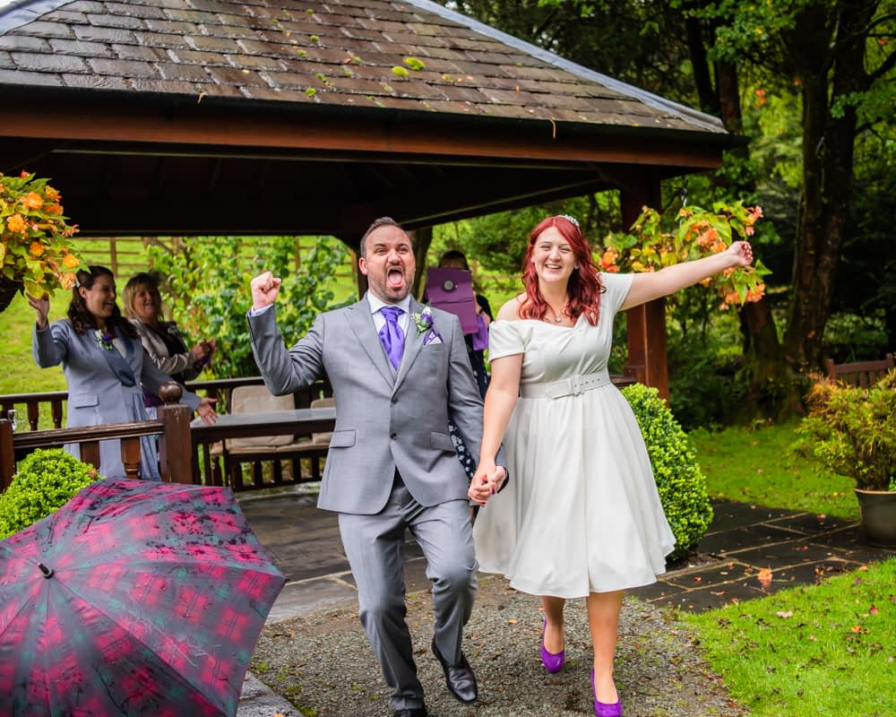 Happy married couple, Briery Wood Hotel wedding, Windermere, Lake District