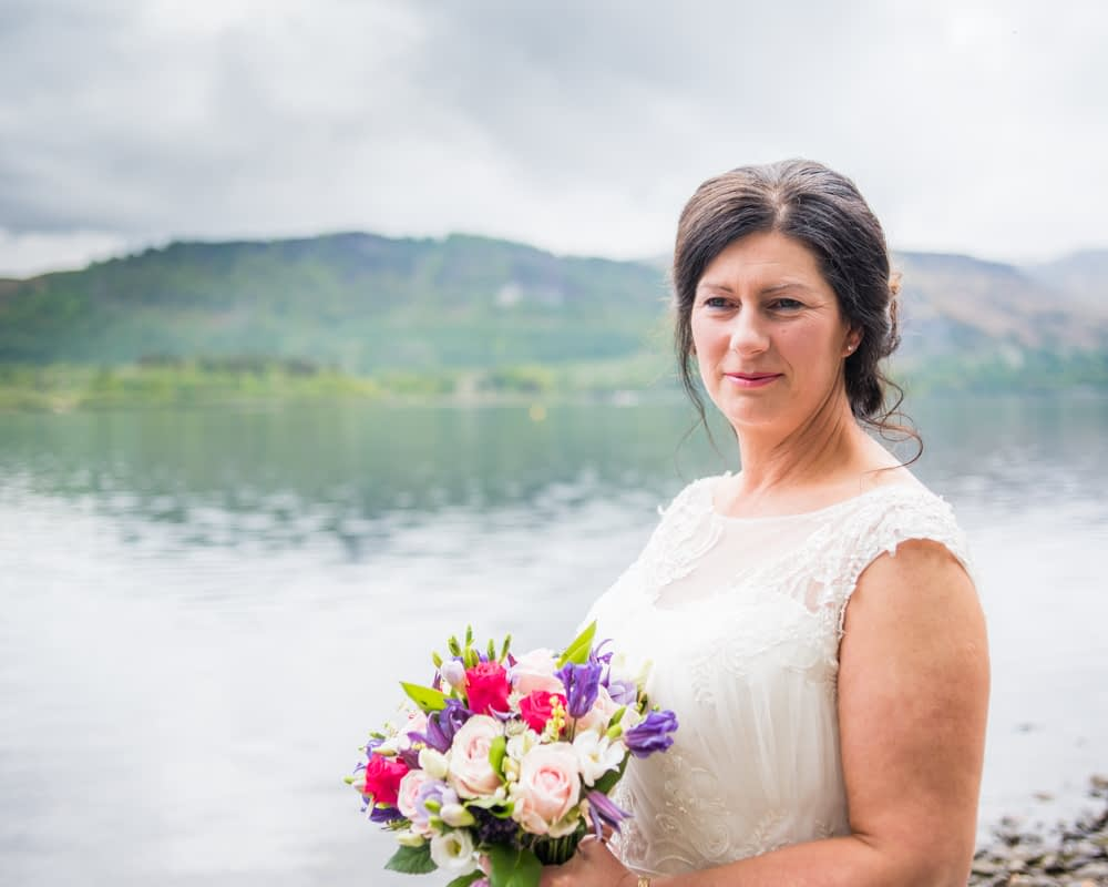 Close up with lake in background, Lingholm wedding, Lake District