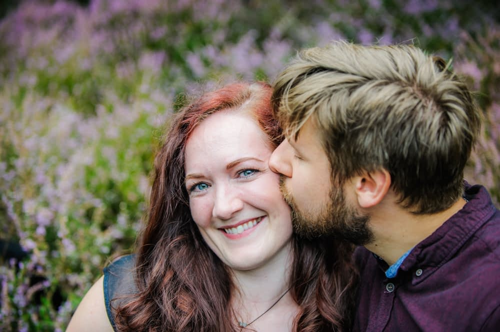 Kisses in heather, Sheffield photographers
