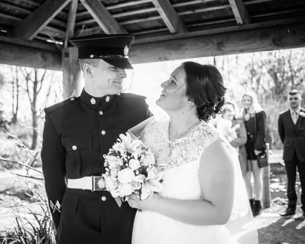Bride and groom meeting at top of aisle, Gretna Green wedding photographer