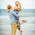 Tynemouth beach engagement shoot, lifting up