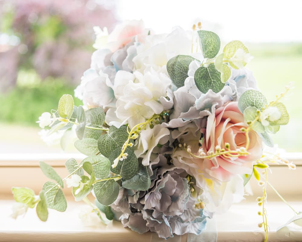 Bridal bouquet with hydrangeas, Retford wedding