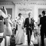 Walking down aisle at Wortley Hall in Sheffield
