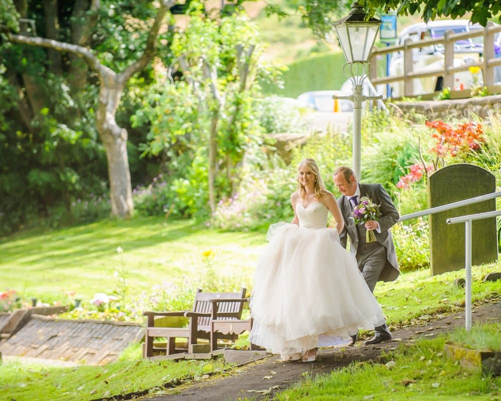 Emma and her Dad walking to chapel, Maynard wedding, Sheffield photographers