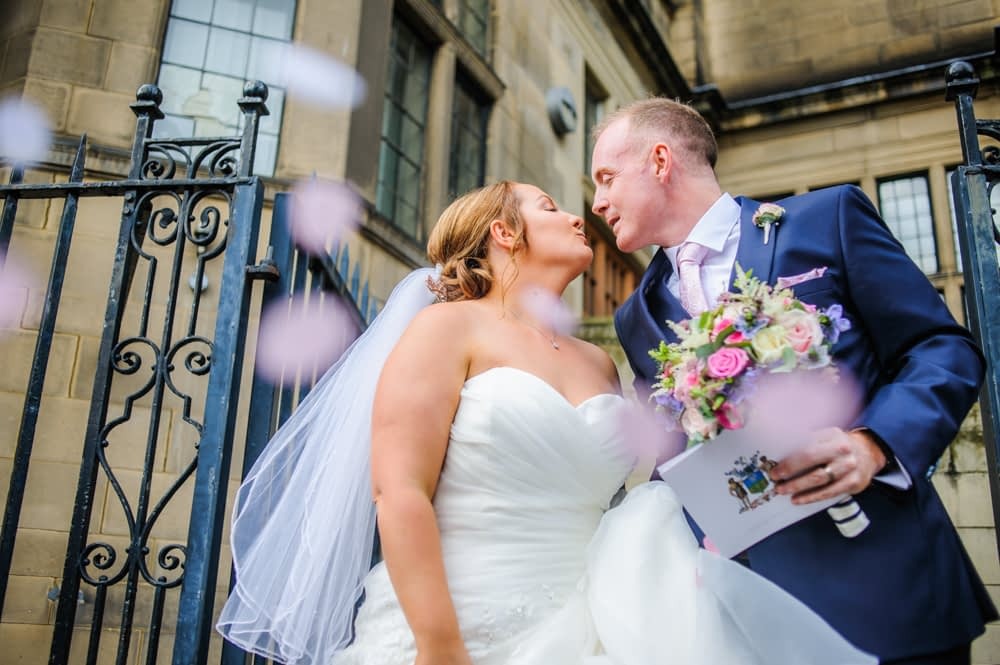 Kissing with confetti,  Sheffield Town Hall weddings