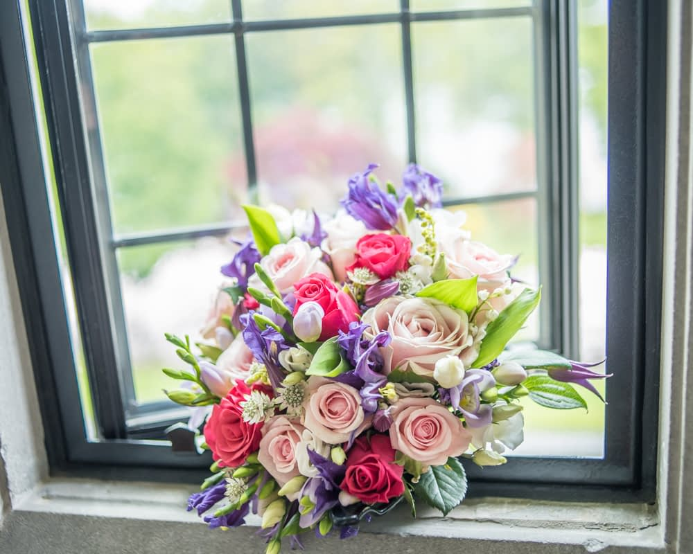 Gill's bouquet in window at Lingholm