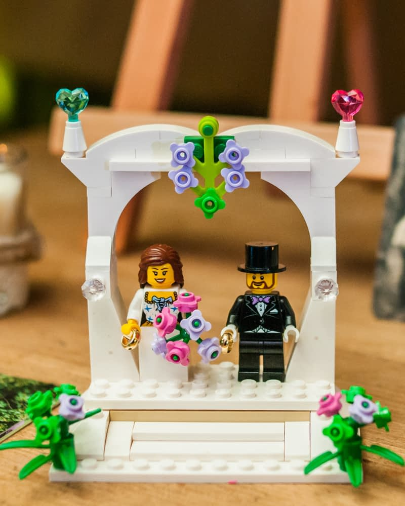 Lego cake topper,  Wentworth Castle Garden wedding, Sheffield photographers