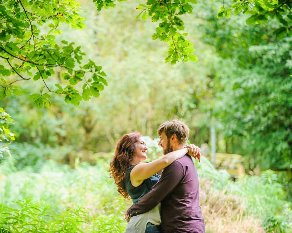 Engagement portraits in Greno woods, Sheffield