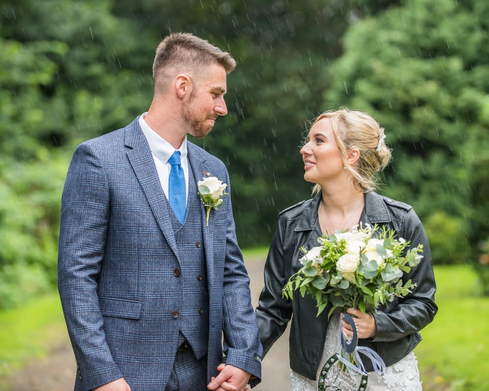 Rainy wedding portraits in Carlisle,  wedding photographers Carlisle register office elopement wedding Lake District