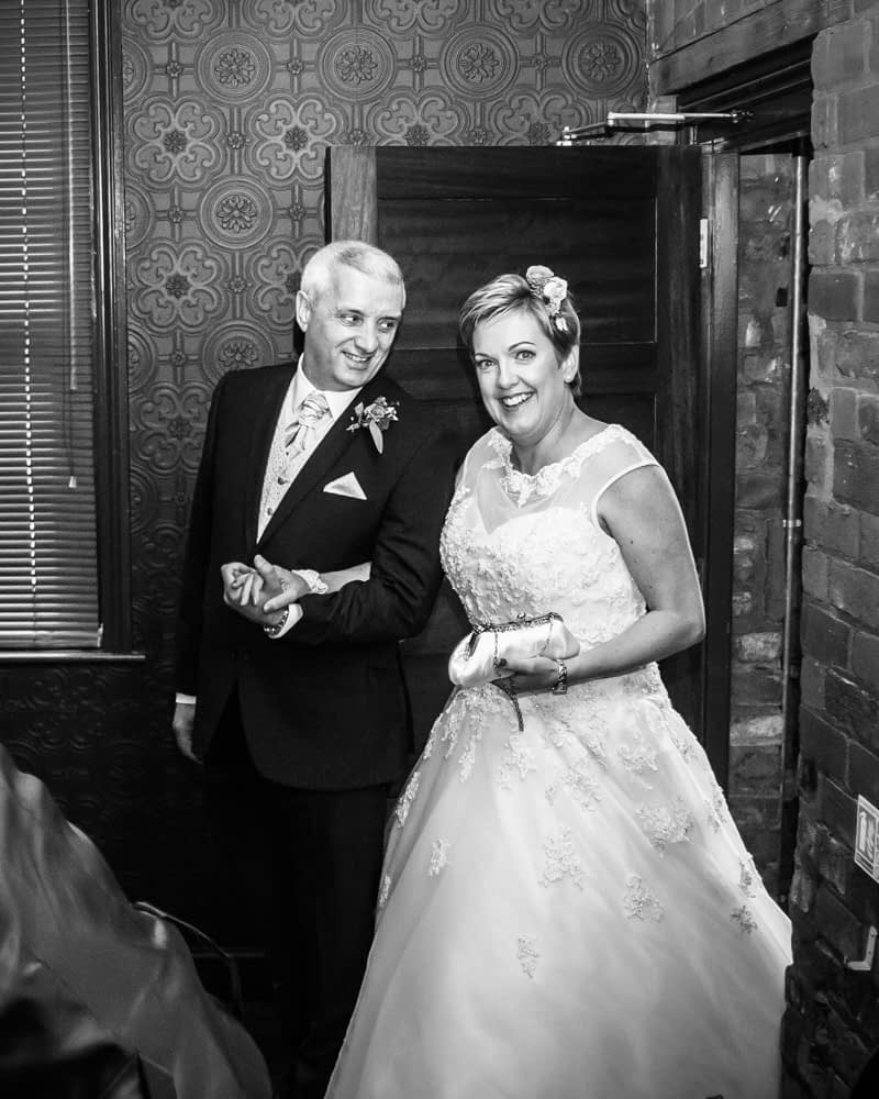 Entering reception, Chimney House, Sheffield wedding photographers