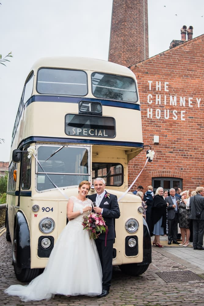 Vintage bus outside Chimney House, Chimney House, Sheffield wedding photographers