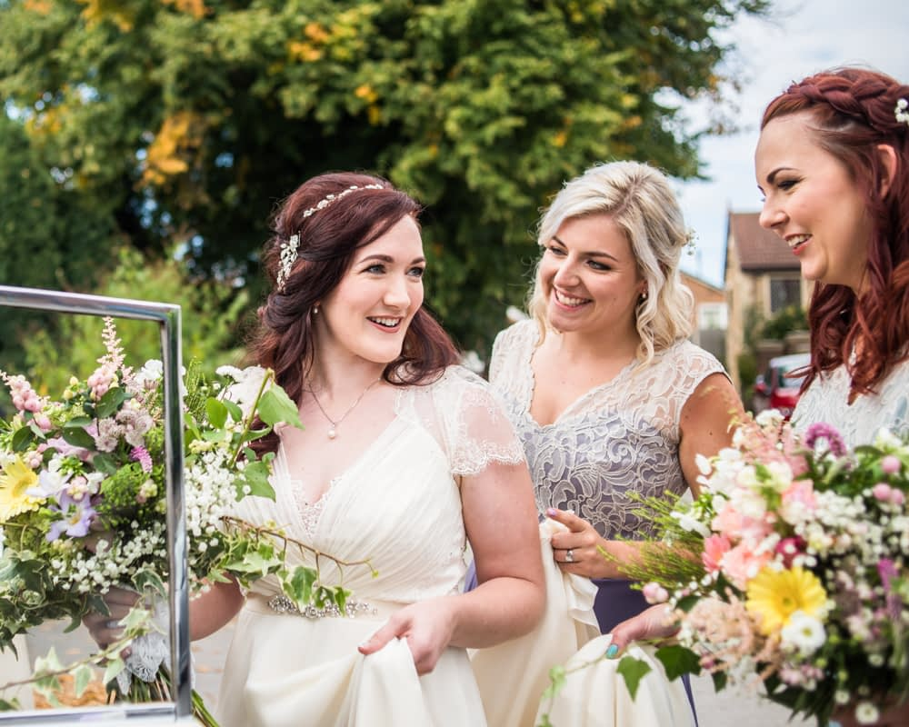 Bride and bridesmaids leaving,  Wentworth Castle Garden wedding, Sheffield photographers