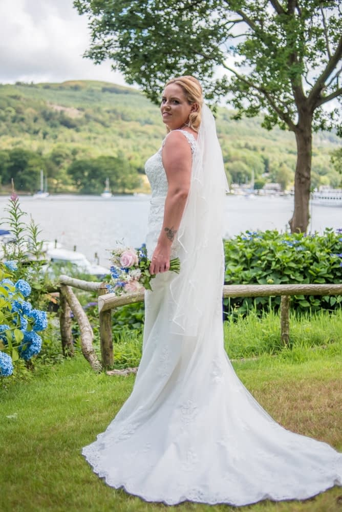 Liane in her wedding dress, Windermere wedding photographers
