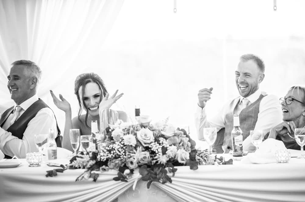 Laughing during speeches, Ringwood Hall weddings, Sheffield photographers