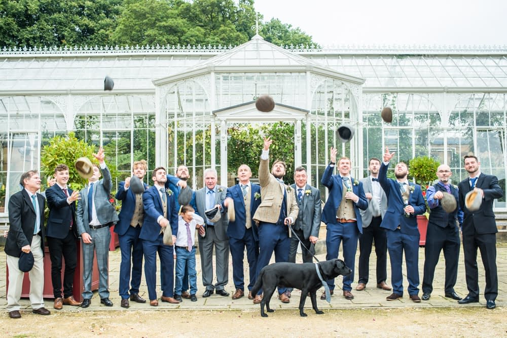 Flat cap toss!  Wentworth Castle Garden wedding, Sheffield photographers