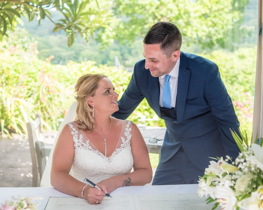 Register signing, Lakeside Hotel, Windermere weddings