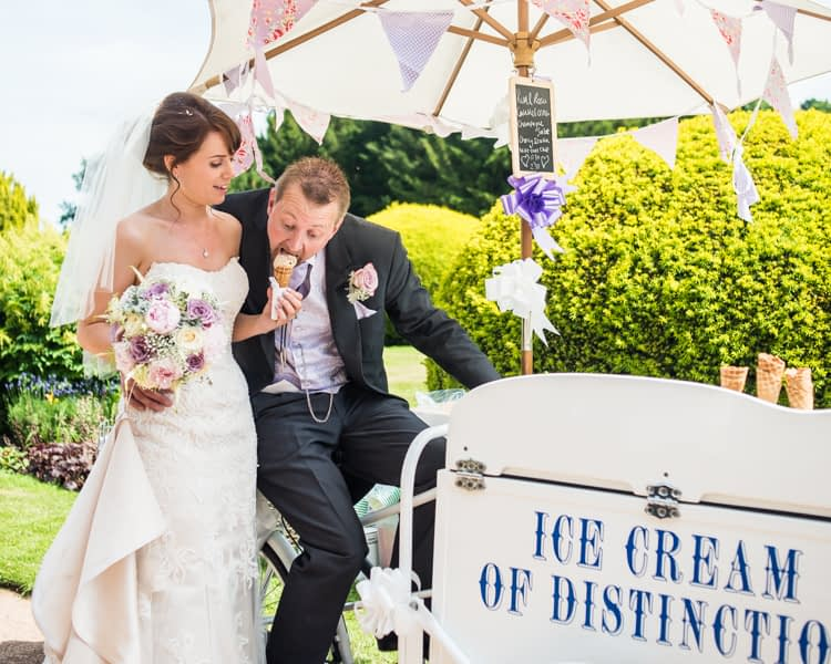 Ice cream for bride and groom at Wortley Hall in Sheffield
