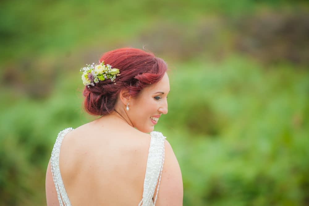 Bride looking back at camera, Sheffield wedding photographers