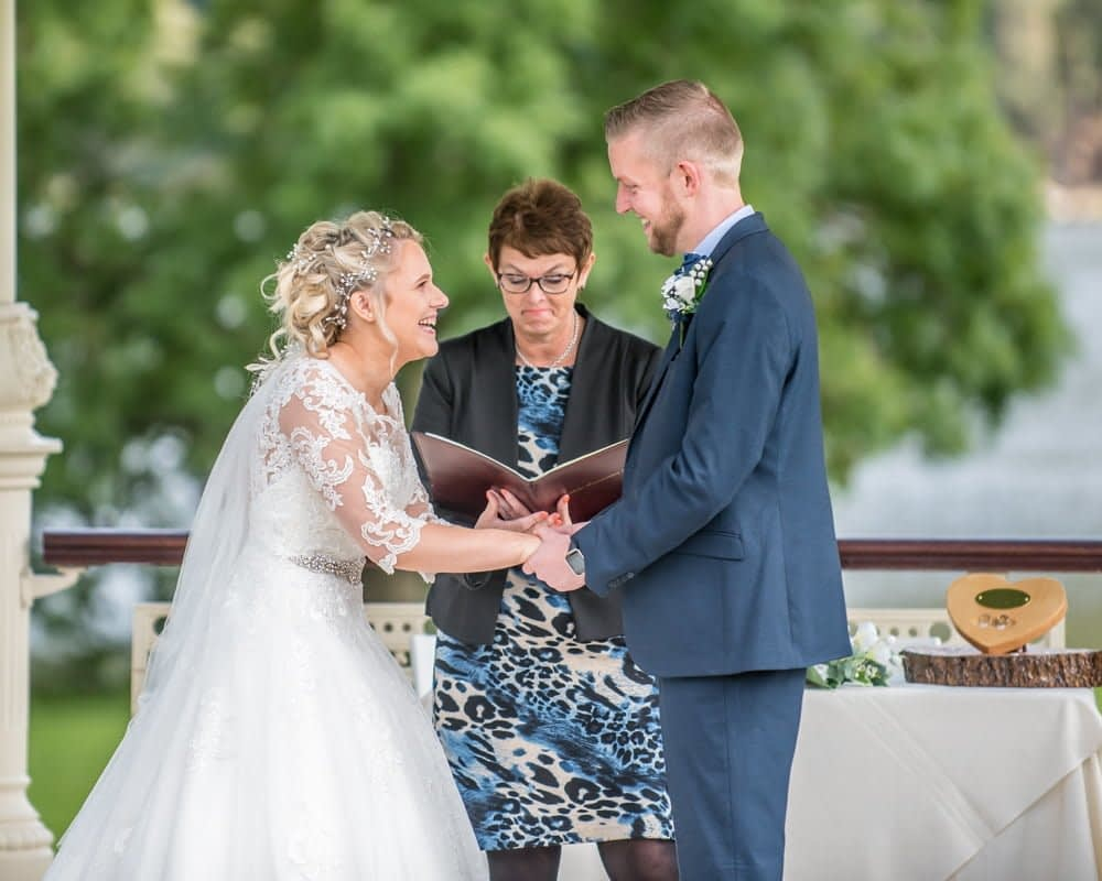 Laughing during the ceremony, Inn on the Lake Weddings, Lake District