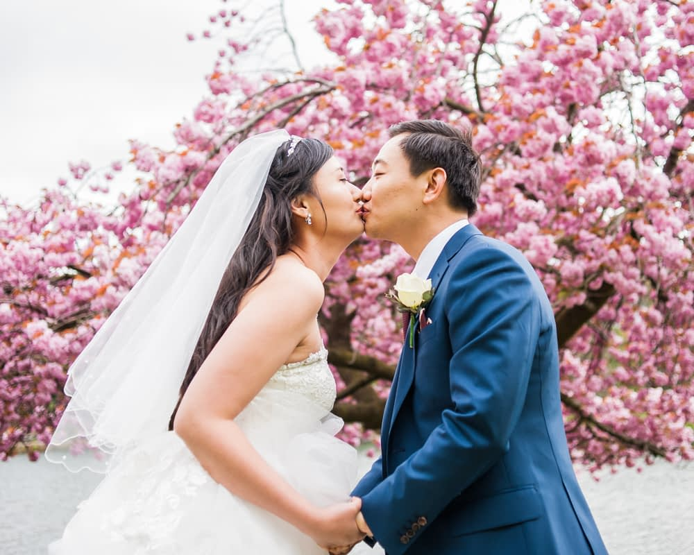 Bride and groom kiss outside blossom, Sheffield wedding photographer, Chinese wedding