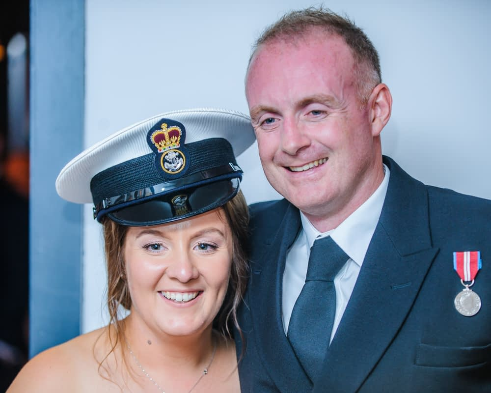 Bride with Navy cap, Sheffield wedding photography