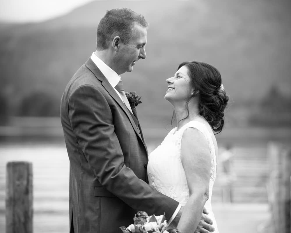 Looking at each other, Lingholm wedding, Lake District