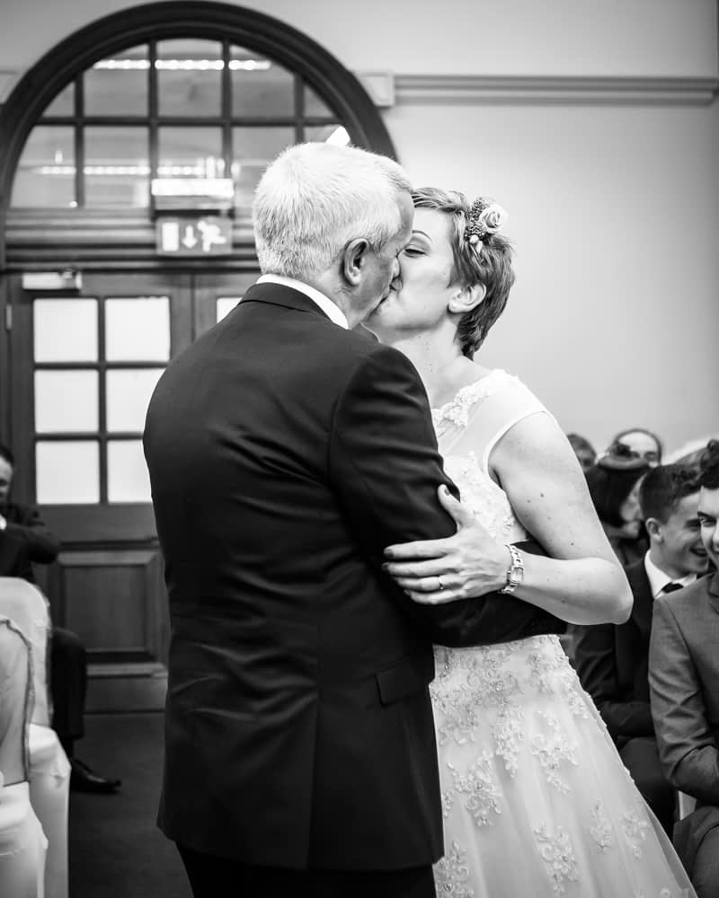 First kiss, Sheffield town hall weddings