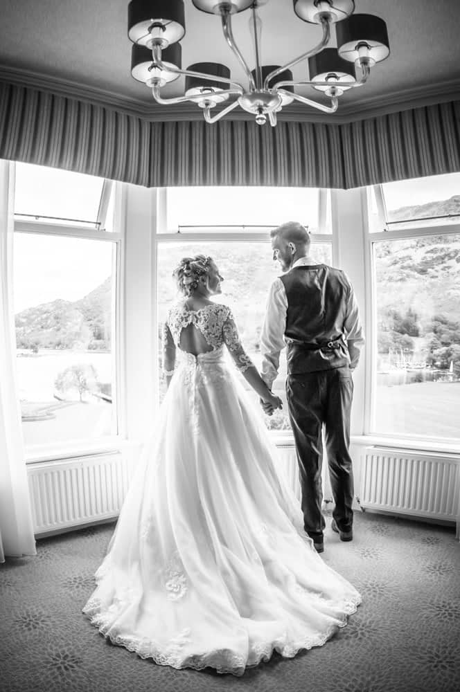 In the bay window in bridal suite, Inn on the Lake Weddings, Lake District