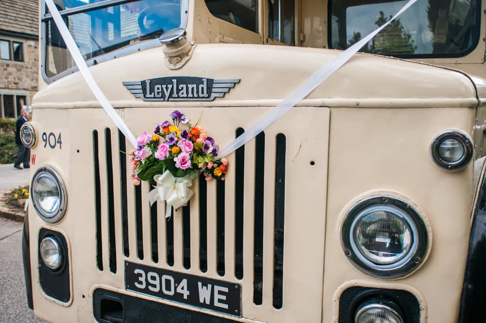 vintage bus,  Wentworth Castle Garden wedding, Sheffield photographers