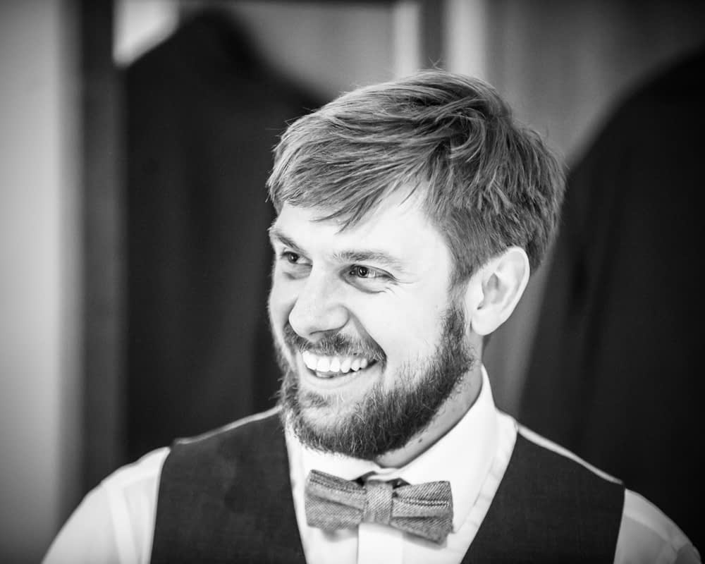 Groom laughing,  Wentworth Castle Garden wedding, Sheffield photographers