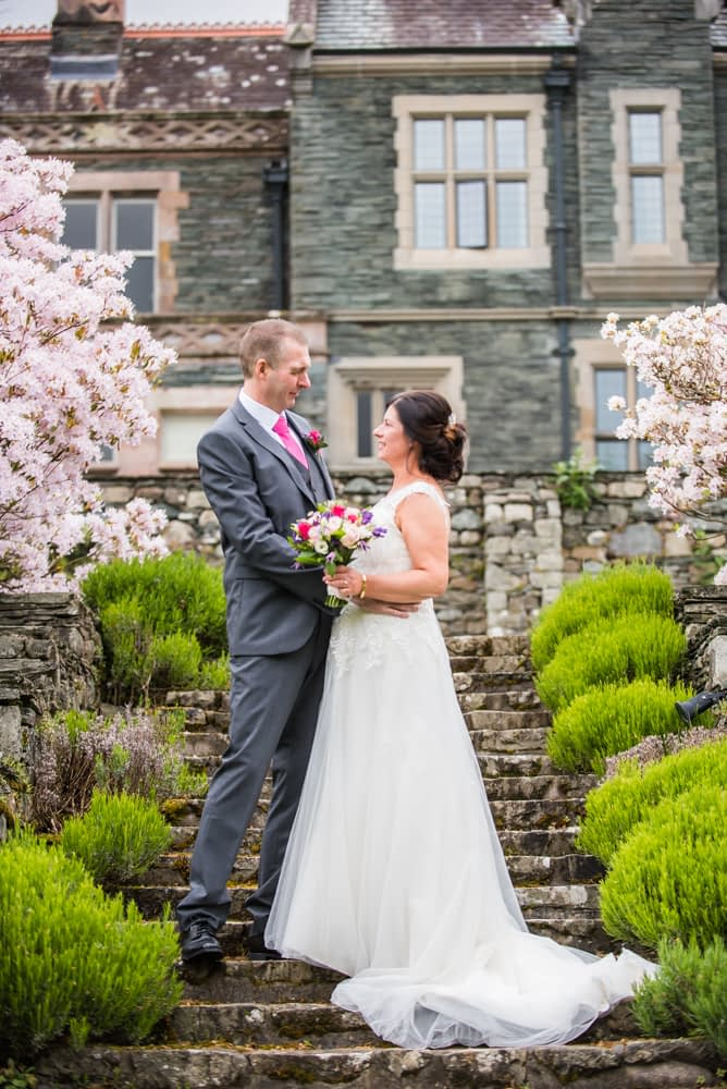 Bridal portraits in grounds, Lingholm wedding, Lake District