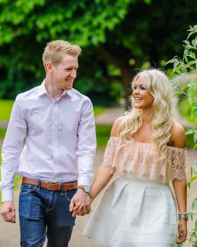 Walking hand in hand, pre-wedding photos, Sheffield Botanical Gardens