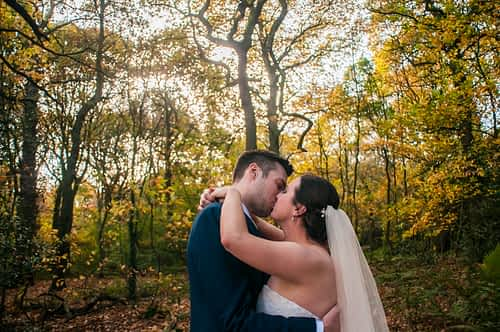 Kisses in the Autumn woodland in Sheffield
