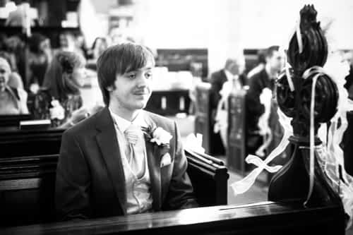 Groom waiting in church, Rotherham wedding photographers