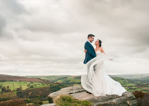 View of Hathersage from Surprise View for wedding couple