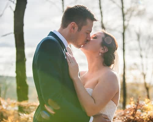 Sunflare wedding kisses in Sheffield