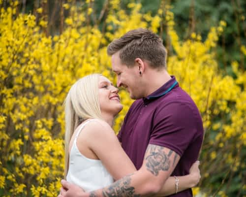 Looking at each other, Botanical Gardens Sheffield wedding photographers