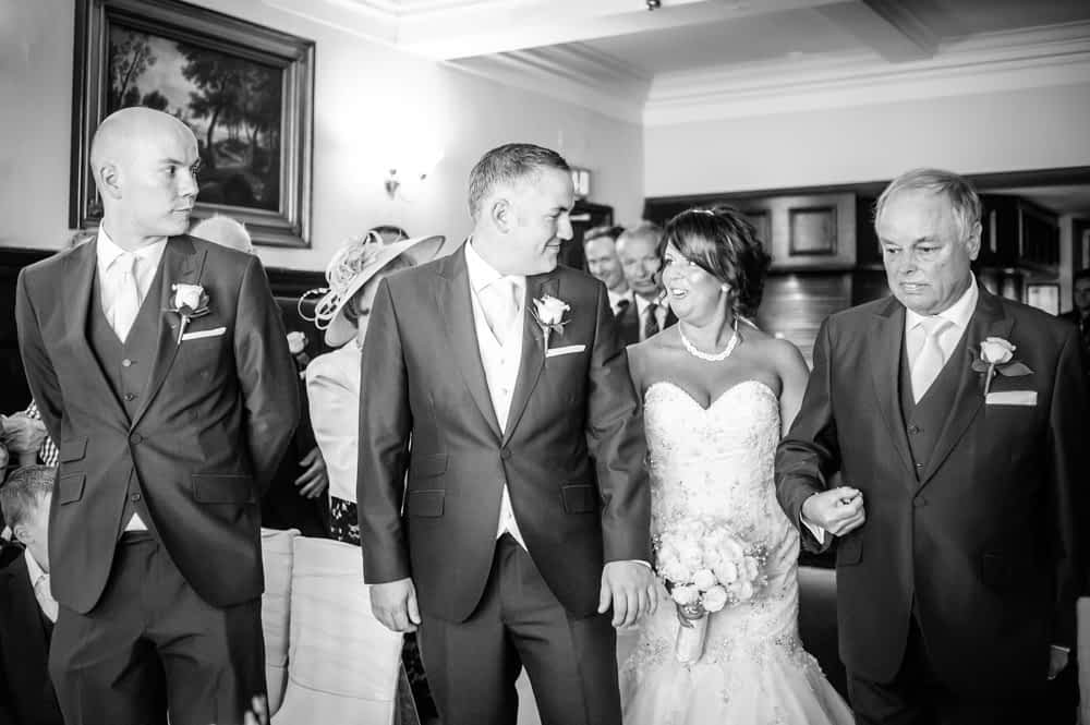 Bride walking down aisle, Whitley Hall weddings, Sheffield wedding photographers