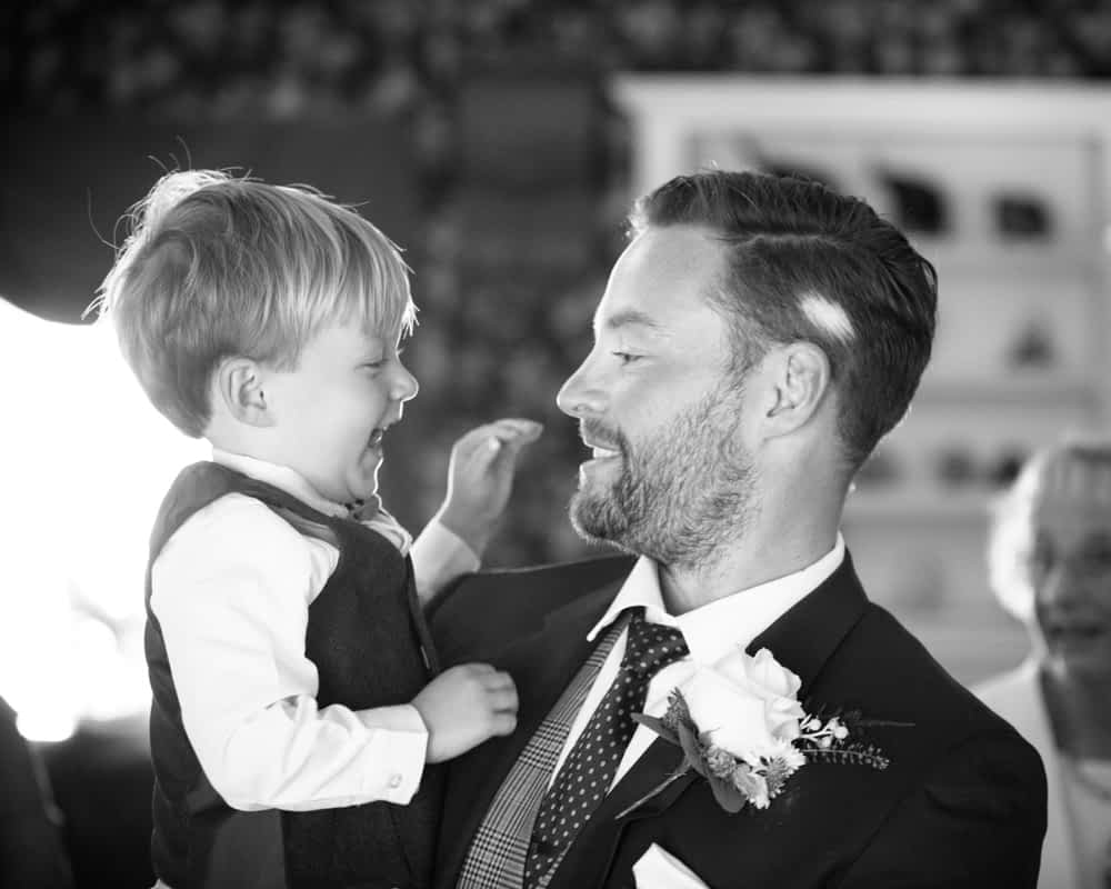 Callan and Dad laughing, Overwater Hall wedding, Lake District