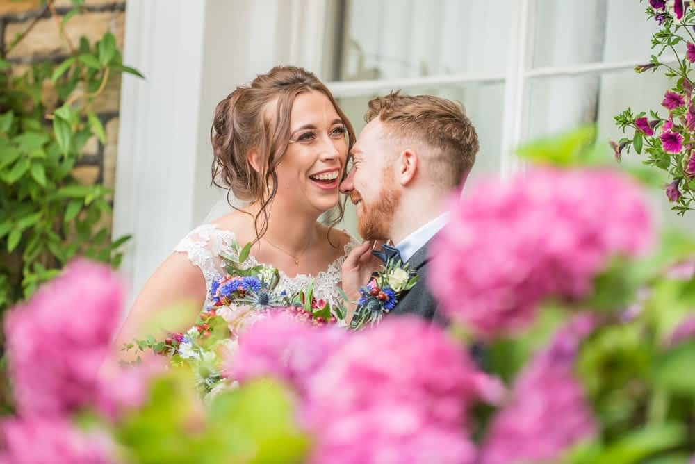 Laughter in grounds, Sheffield wedding photographers, Ringwood Hall Hotel