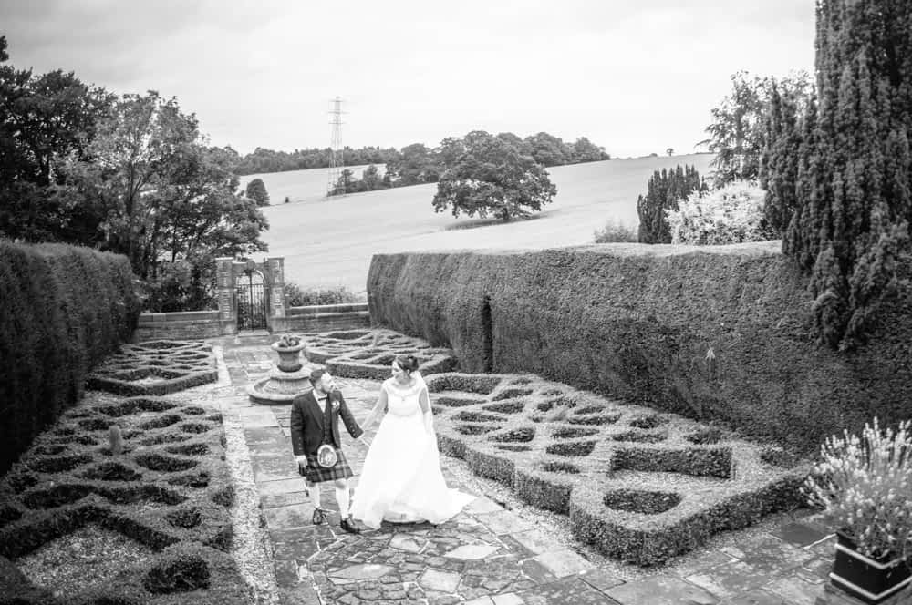 In the manicured maze at Ringwood Hall, Sheffield wedding photographers, Ringwood Hall Hotel