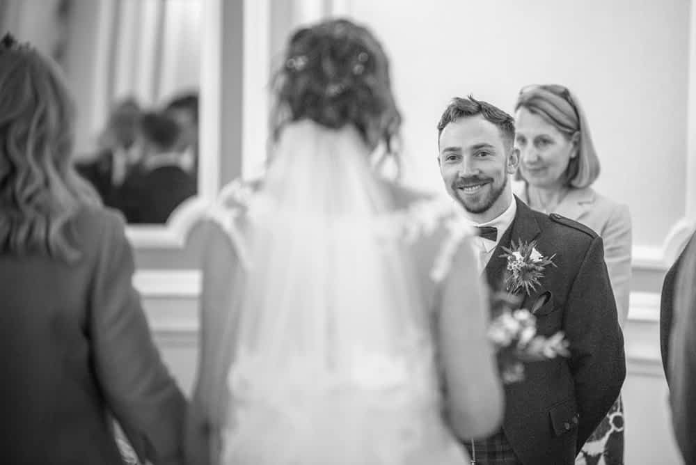 Groom Alastair's first look at bride, Sheffield wedding photographers, Ringwood Hall Hotel