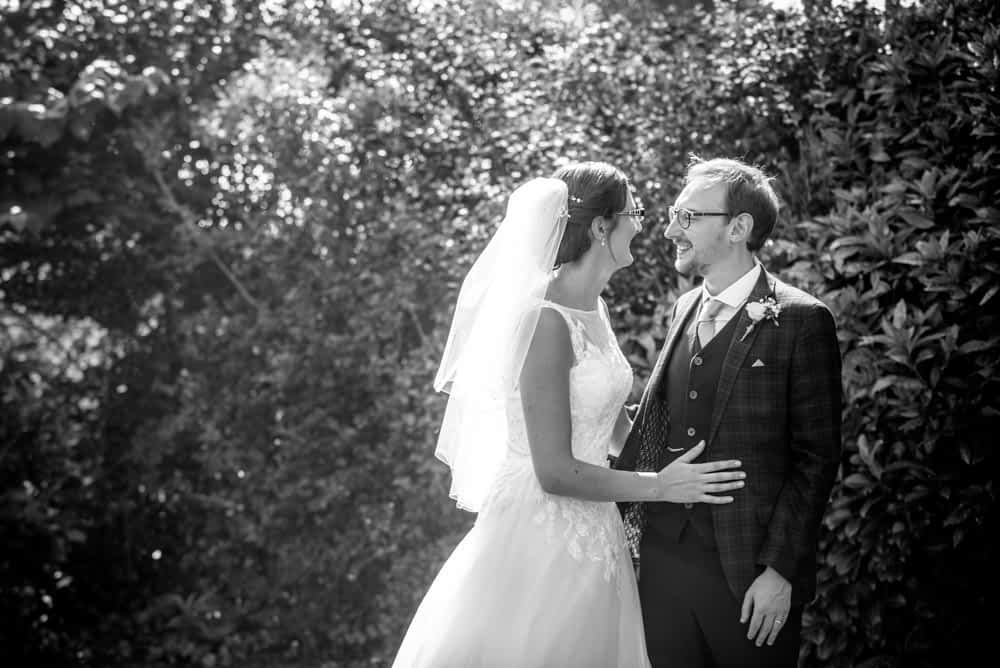 Bride and groom black and white portrait, Shireburn Arms, Lancashire wedding photographers