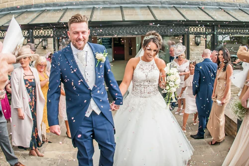 lots of confetti! Waterton Park Hotel weddings, Yorkshire wedding photographers