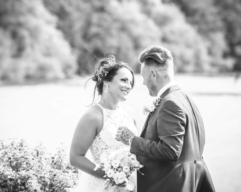 Bride and groom chatting, Waterton Park Hotel weddings, Yorkshire wedding photographers